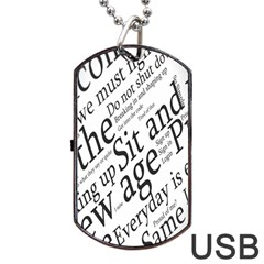 Abstract Minimalistic Text Typography Grayscale Focused Into Newspaper Dog Tag Usb Flash (two Sides) by Simbadda