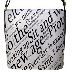 Abstract Minimalistic Text Typography Grayscale Focused Into Newspaper Flap Messenger Bag (s) by Simbadda