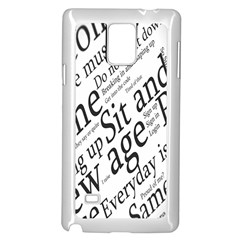Abstract Minimalistic Text Typography Grayscale Focused Into Newspaper Samsung Galaxy Note 4 Case (white) by Simbadda
