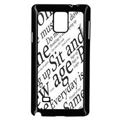 Abstract Minimalistic Text Typography Grayscale Focused Into Newspaper Samsung Galaxy Note 4 Case (black) by Simbadda