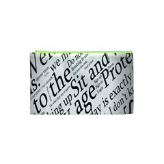 Abstract Minimalistic Text Typography Grayscale Focused Into Newspaper Cosmetic Bag (xs) by Simbadda