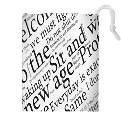 Abstract Minimalistic Text Typography Grayscale Focused Into Newspaper Drawstring Pouches (xxl)
