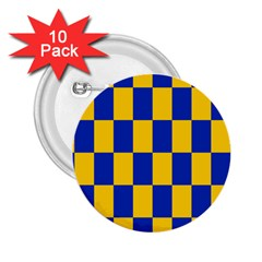 Flag Plaid Blue Yellow 2 25  Buttons (10 Pack)