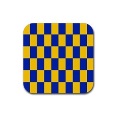 Flag Plaid Blue Yellow Rubber Square Coaster (4 Pack)  by Alisyart