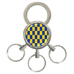 Flag Plaid Blue Yellow 3 Ring Key Chains by Alisyart