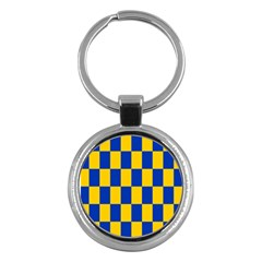 Flag Plaid Blue Yellow Key Chains (round)  by Alisyart