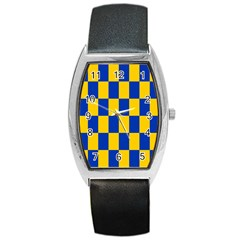 Flag Plaid Blue Yellow Barrel Style Metal Watch