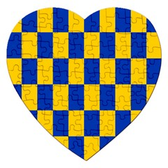 Flag Plaid Blue Yellow Jigsaw Puzzle (heart)