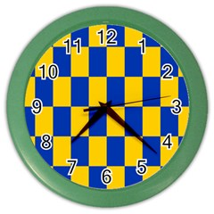 Flag Plaid Blue Yellow Color Wall Clocks