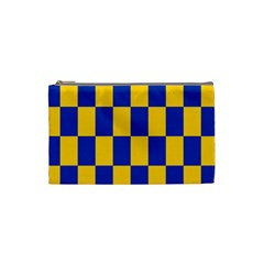 Flag Plaid Blue Yellow Cosmetic Bag (small)  by Alisyart