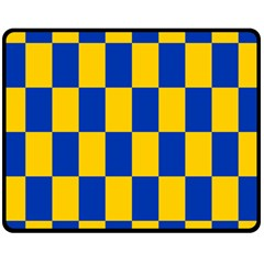 Flag Plaid Blue Yellow Fleece Blanket (medium)  by Alisyart