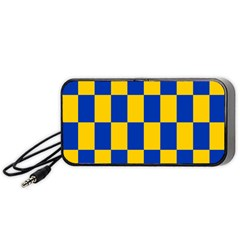 Flag Plaid Blue Yellow Portable Speaker (black) by Alisyart