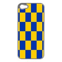 Flag Plaid Blue Yellow Apple Iphone 5 Case (silver) by Alisyart