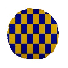 Flag Plaid Blue Yellow Standard 15  Premium Round Cushions