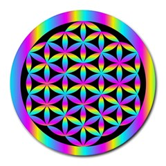 Flower Of Life Gradient Fill Black Circle Plain Round Mousepads by Simbadda