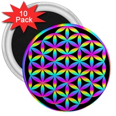 Flower Of Life Gradient Fill Black Circle Plain 3  Magnets (10 Pack)