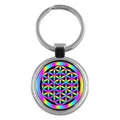 Flower Of Life Gradient Fill Black Circle Plain Key Chains (round)  by Simbadda