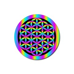 Flower Of Life Gradient Fill Black Circle Plain Rubber Coaster (round)  by Simbadda