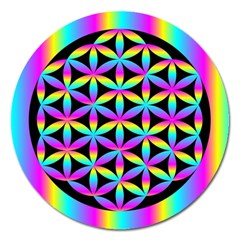 Flower Of Life Gradient Fill Black Circle Plain Magnet 5  (round) by Simbadda