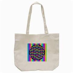 Flower Of Life Gradient Fill Black Circle Plain Tote Bag (cream) by Simbadda