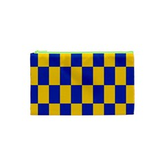 Flag Plaid Blue Yellow Cosmetic Bag (xs) by Alisyart