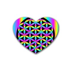 Flower Of Life Gradient Fill Black Circle Plain Heart Coaster (4 Pack)  by Simbadda