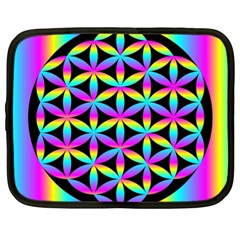 Flower Of Life Gradient Fill Black Circle Plain Netbook Case (xl)