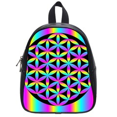 Flower Of Life Gradient Fill Black Circle Plain School Bags (small)  by Simbadda