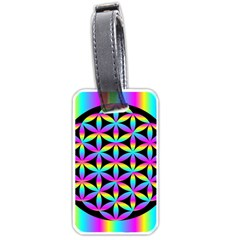 Flower Of Life Gradient Fill Black Circle Plain Luggage Tags (one Side)  by Simbadda