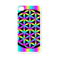 Flower Of Life Gradient Fill Black Circle Plain Apple Iphone 4 Case (white) by Simbadda