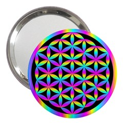 Flower Of Life Gradient Fill Black Circle Plain 3  Handbag Mirrors