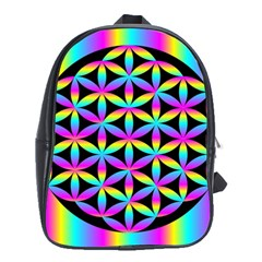 Flower Of Life Gradient Fill Black Circle Plain School Bags (xl)  by Simbadda