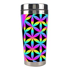 Flower Of Life Gradient Fill Black Circle Plain Stainless Steel Travel Tumblers by Simbadda
