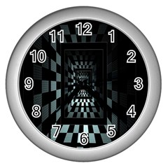 Optical Illusion Square Abstract Geometry Wall Clocks (silver)