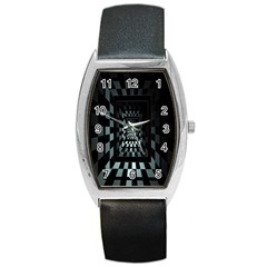 Optical Illusion Square Abstract Geometry Barrel Style Metal Watch
