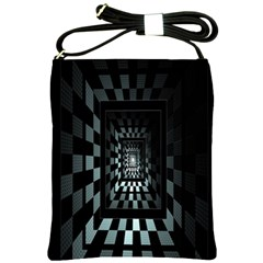 Optical Illusion Square Abstract Geometry Shoulder Sling Bags by Simbadda
