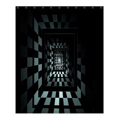 Optical Illusion Square Abstract Geometry Shower Curtain 60  X 72  (medium)  by Simbadda