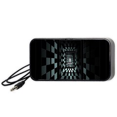 Optical Illusion Square Abstract Geometry Portable Speaker (black) by Simbadda