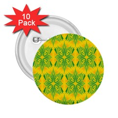 Floral Flower Star Sunflower Green Yellow 2 25  Buttons (10 Pack)  by Alisyart