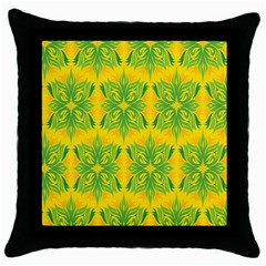 Floral Flower Star Sunflower Green Yellow Throw Pillow Case (black) by Alisyart