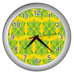 Floral Flower Star Sunflower Green Yellow Wall Clocks (silver)  by Alisyart