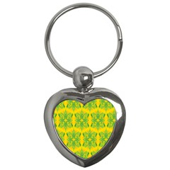 Floral Flower Star Sunflower Green Yellow Key Chains (heart)  by Alisyart