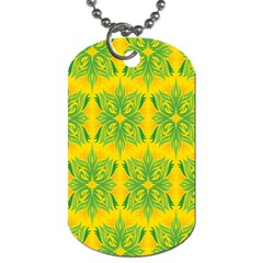Floral Flower Star Sunflower Green Yellow Dog Tag (two Sides) by Alisyart