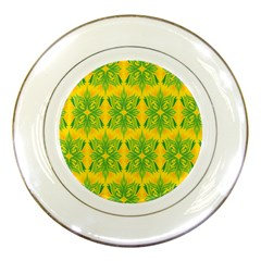 Floral Flower Star Sunflower Green Yellow Porcelain Plates by Alisyart