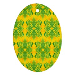Floral Flower Star Sunflower Green Yellow Oval Ornament (two Sides) by Alisyart