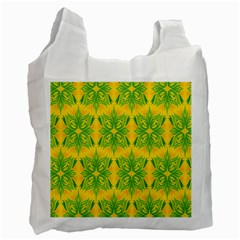 Floral Flower Star Sunflower Green Yellow Recycle Bag (one Side) by Alisyart