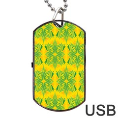 Floral Flower Star Sunflower Green Yellow Dog Tag Usb Flash (one Side)
