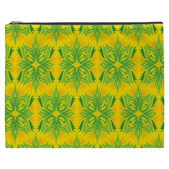 Floral Flower Star Sunflower Green Yellow Cosmetic Bag (xxxl)