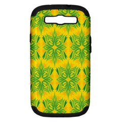 Floral Flower Star Sunflower Green Yellow Samsung Galaxy S Iii Hardshell Case (pc+silicone) by Alisyart