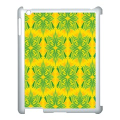Floral Flower Star Sunflower Green Yellow Apple Ipad 3/4 Case (white)